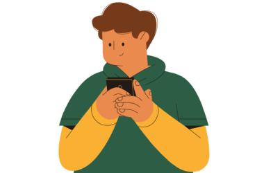 image showing boy using smartphone
