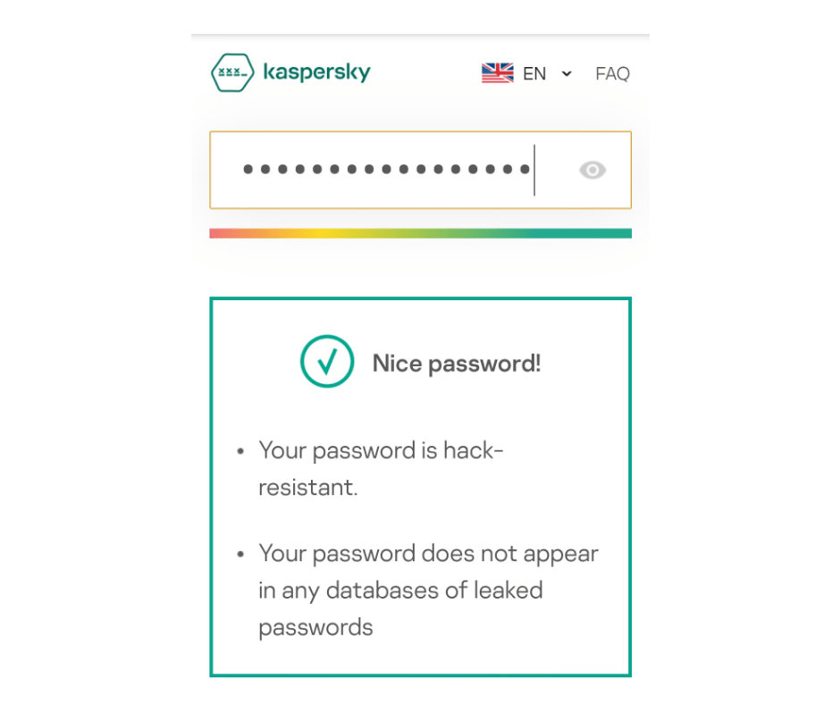 image shwoing strong password protection text
